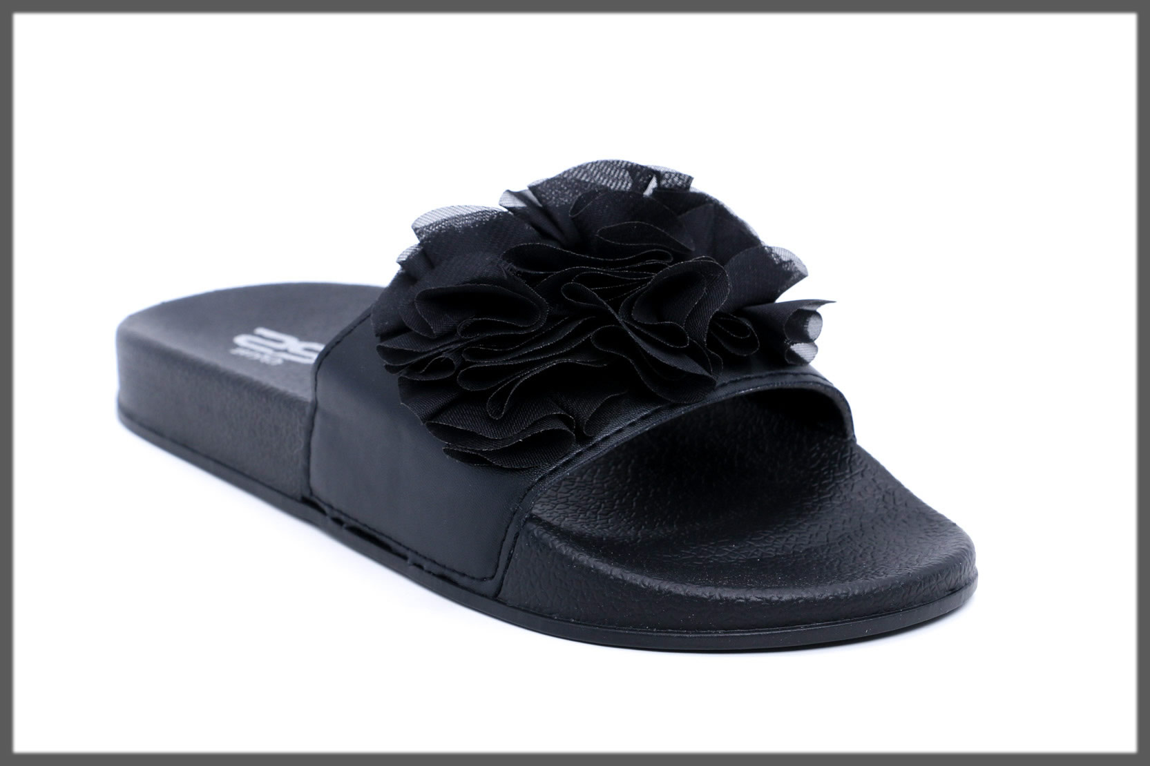 flowery black flip flop