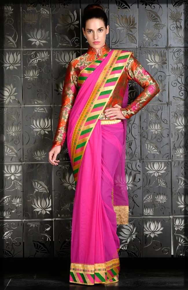 fucshia pink saree with jacket
