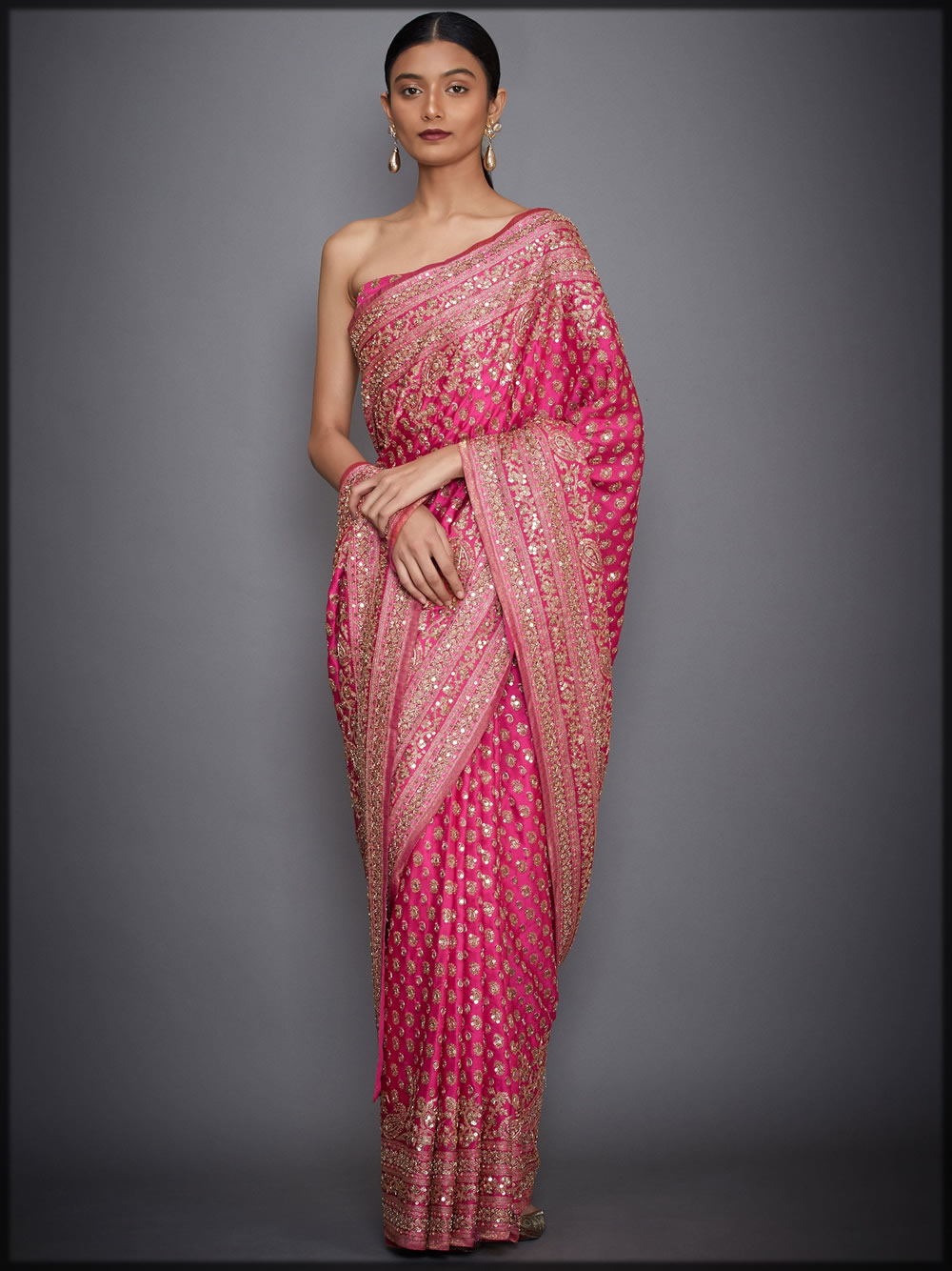fuschia pink embellished sari