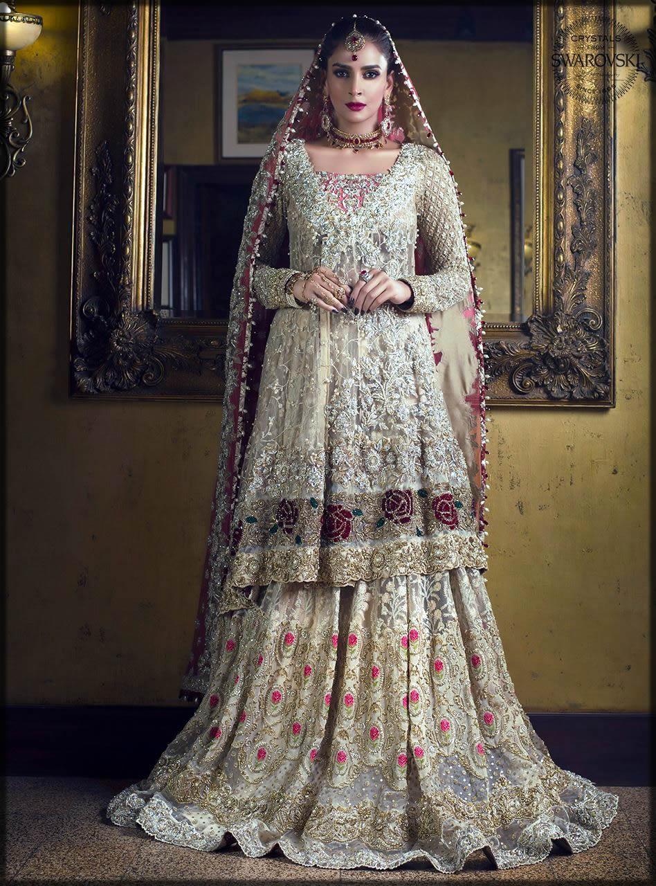 golden angrakha style bridal dress