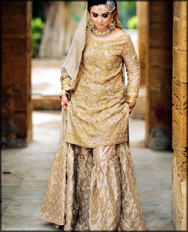golden bridal gharara for barat