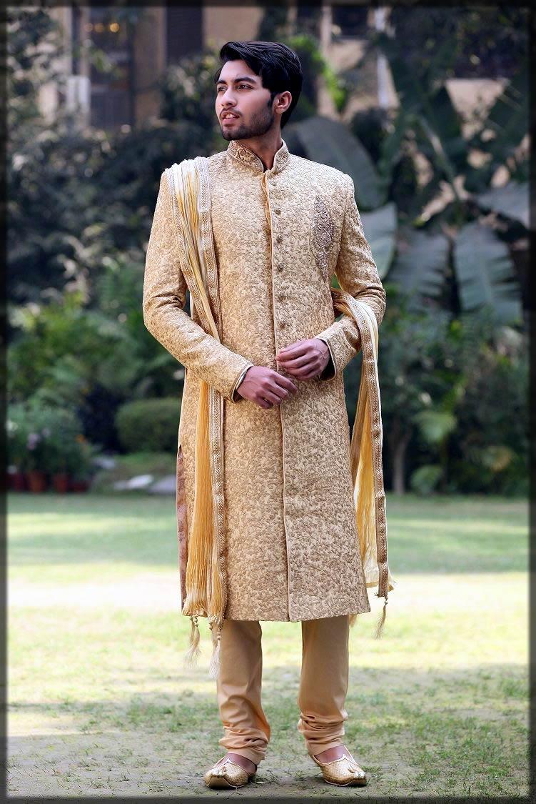 golden embroidered wedding dress for men