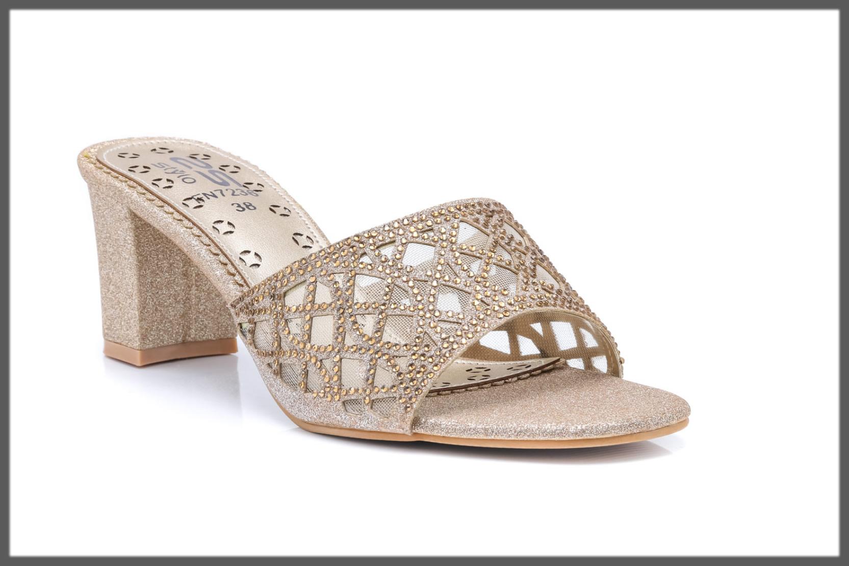 golden fancy slippers