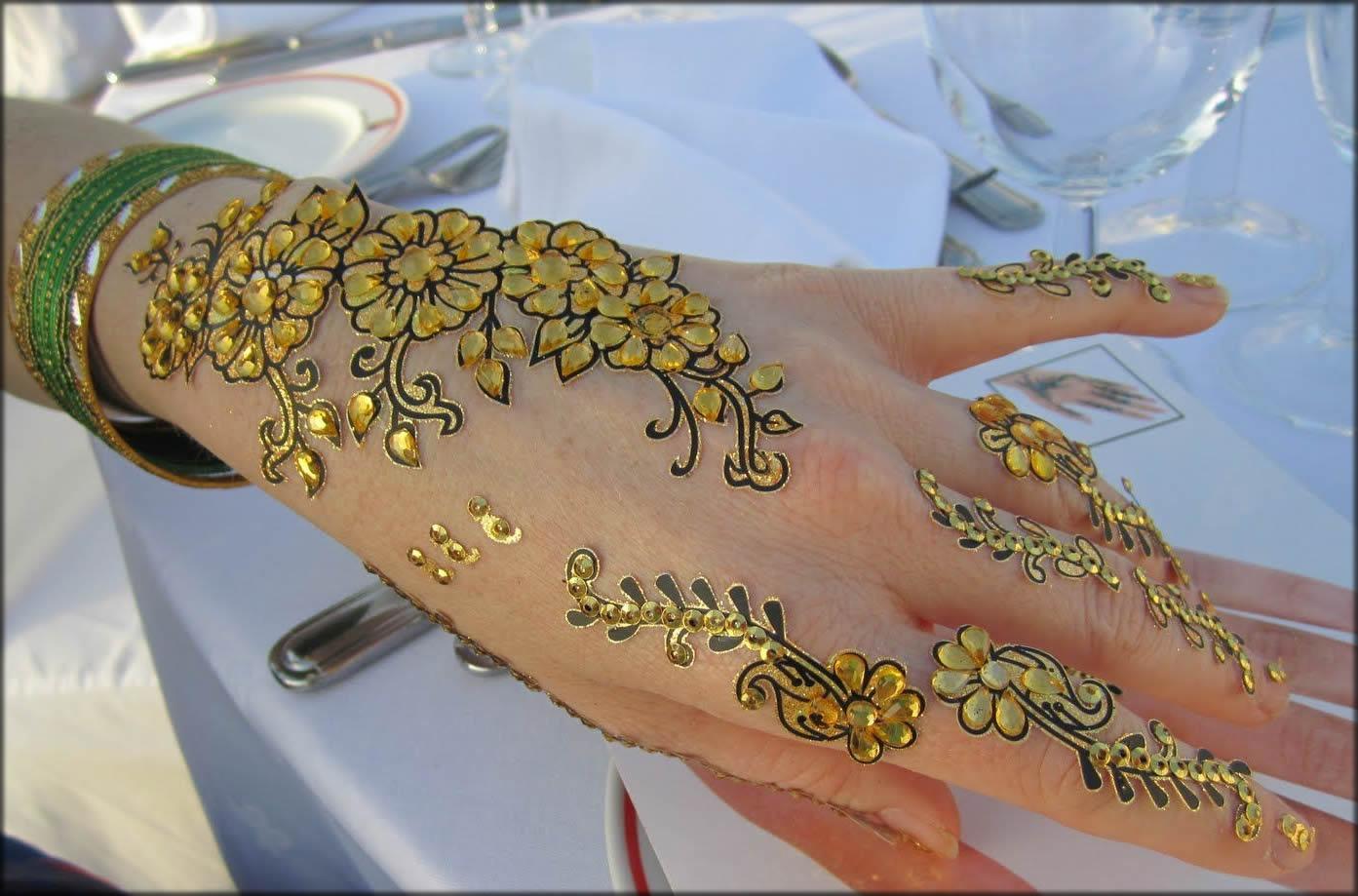 golden glitter mhendi