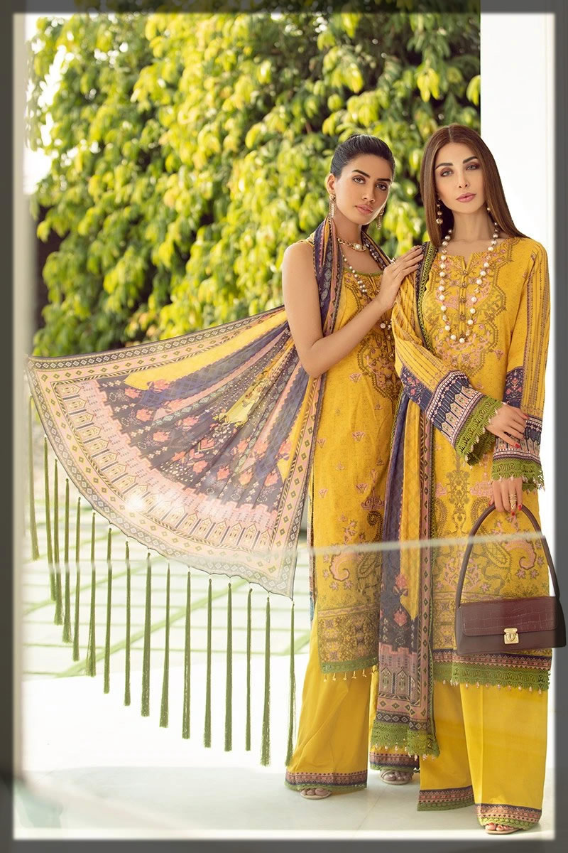 graceful yelow embroidered lawn dress