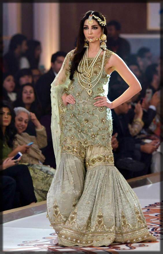 green bridal gharara design