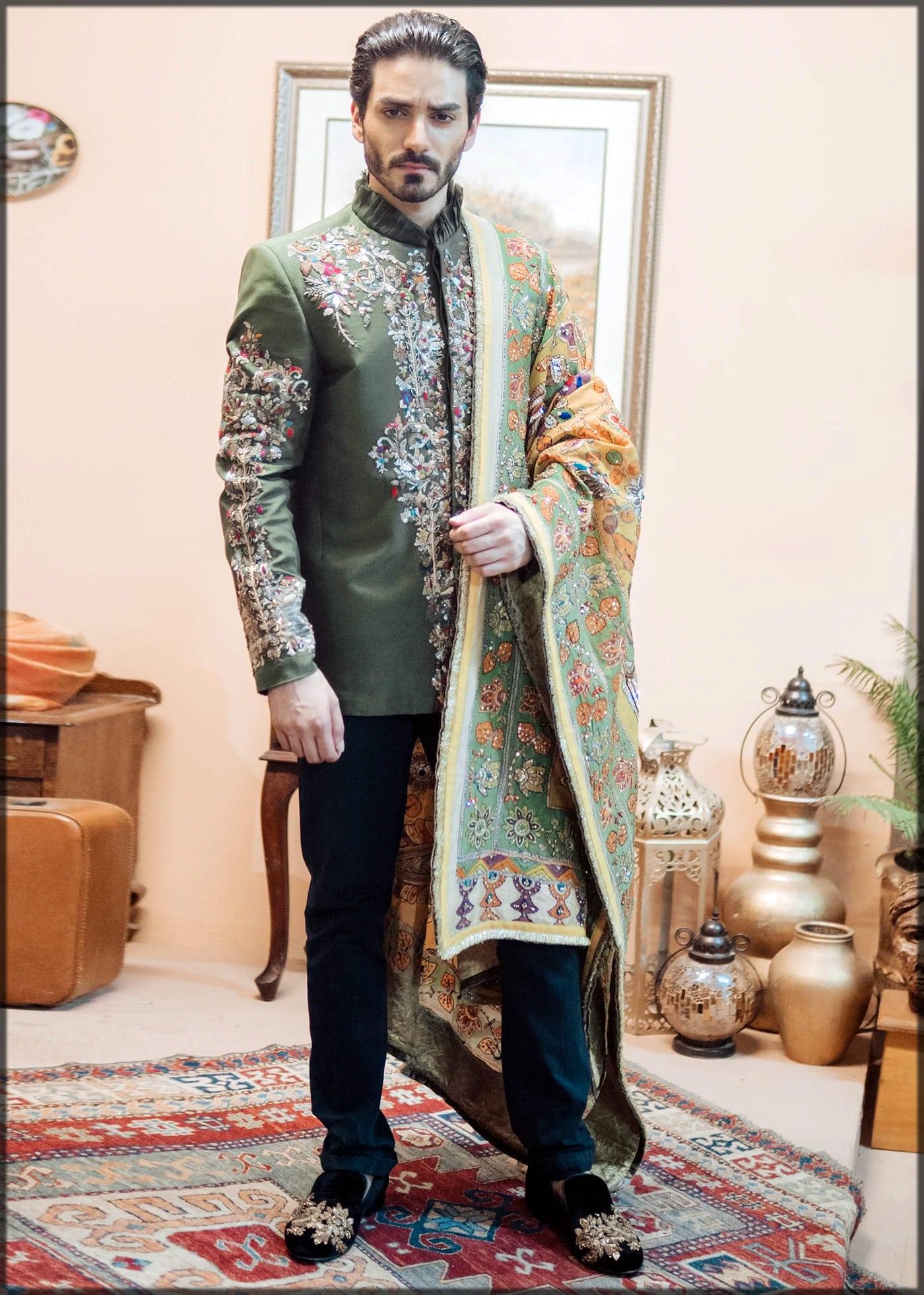 green embroidered coat style sherwani