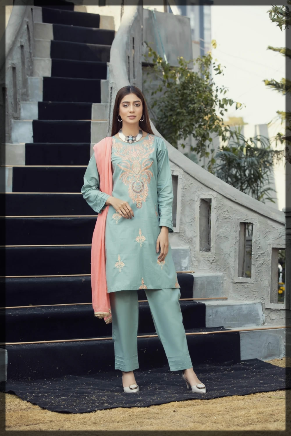 green embroidered pret lawn suit
