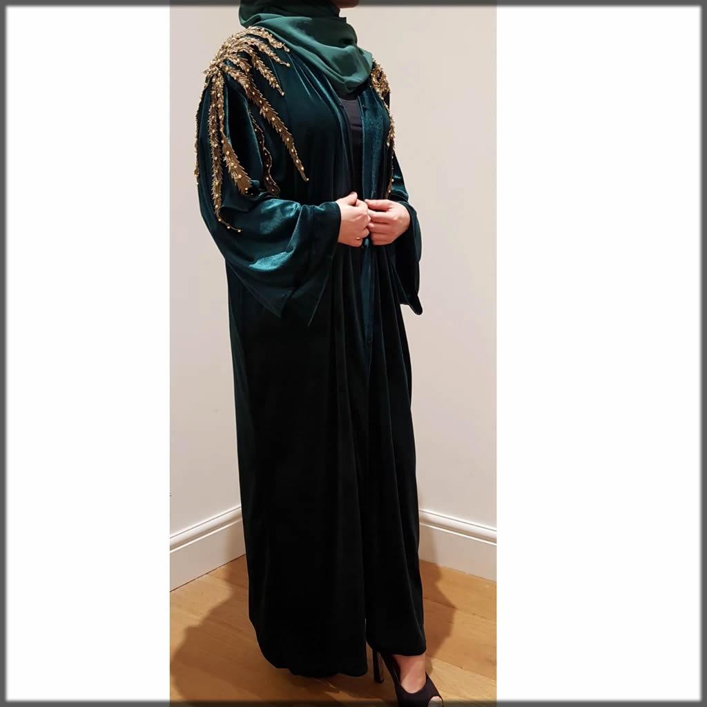green embroidered velvet abaya for events