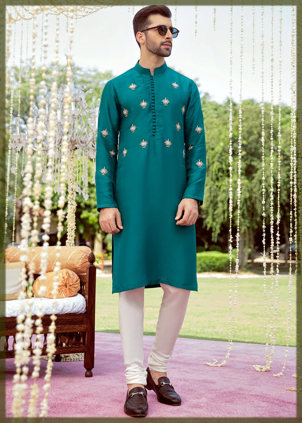 green kurta pajama for groom