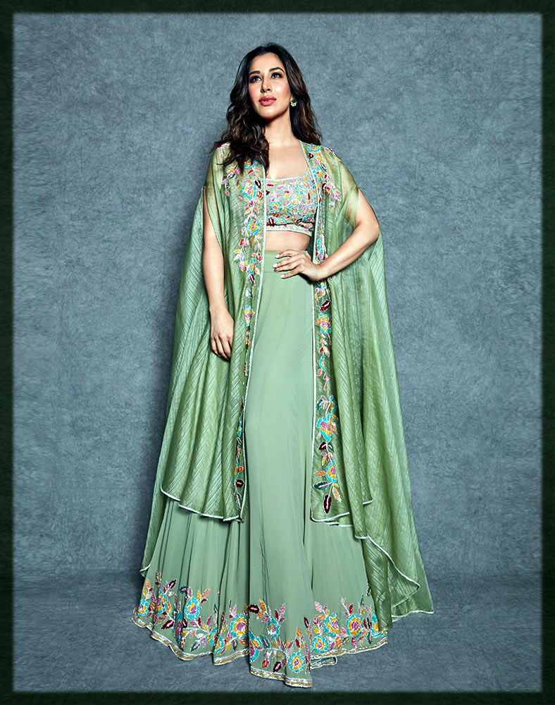 green mehndi dress