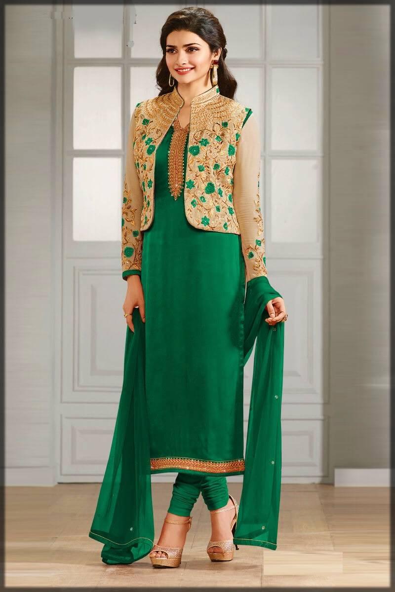 green pajama kameez with fancy golden jacket