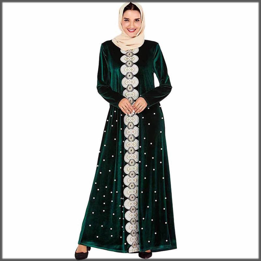 green stylish abaya with embroidery