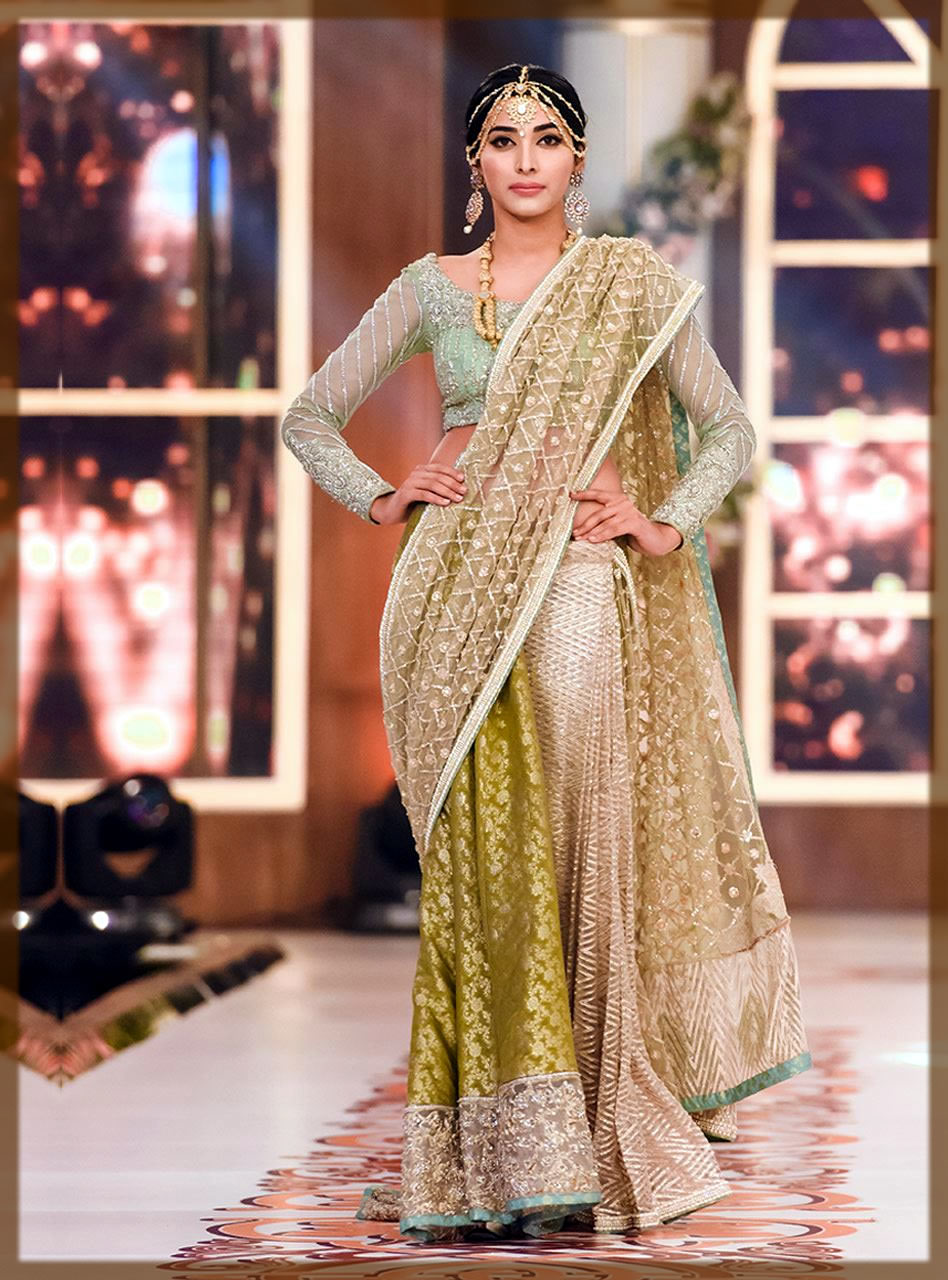 greenish zainab chootani saree