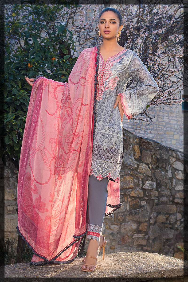 grey and pink lawn dress