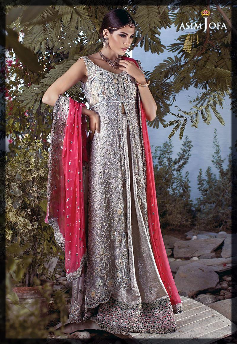 grey and pink asim jofa bridal collection