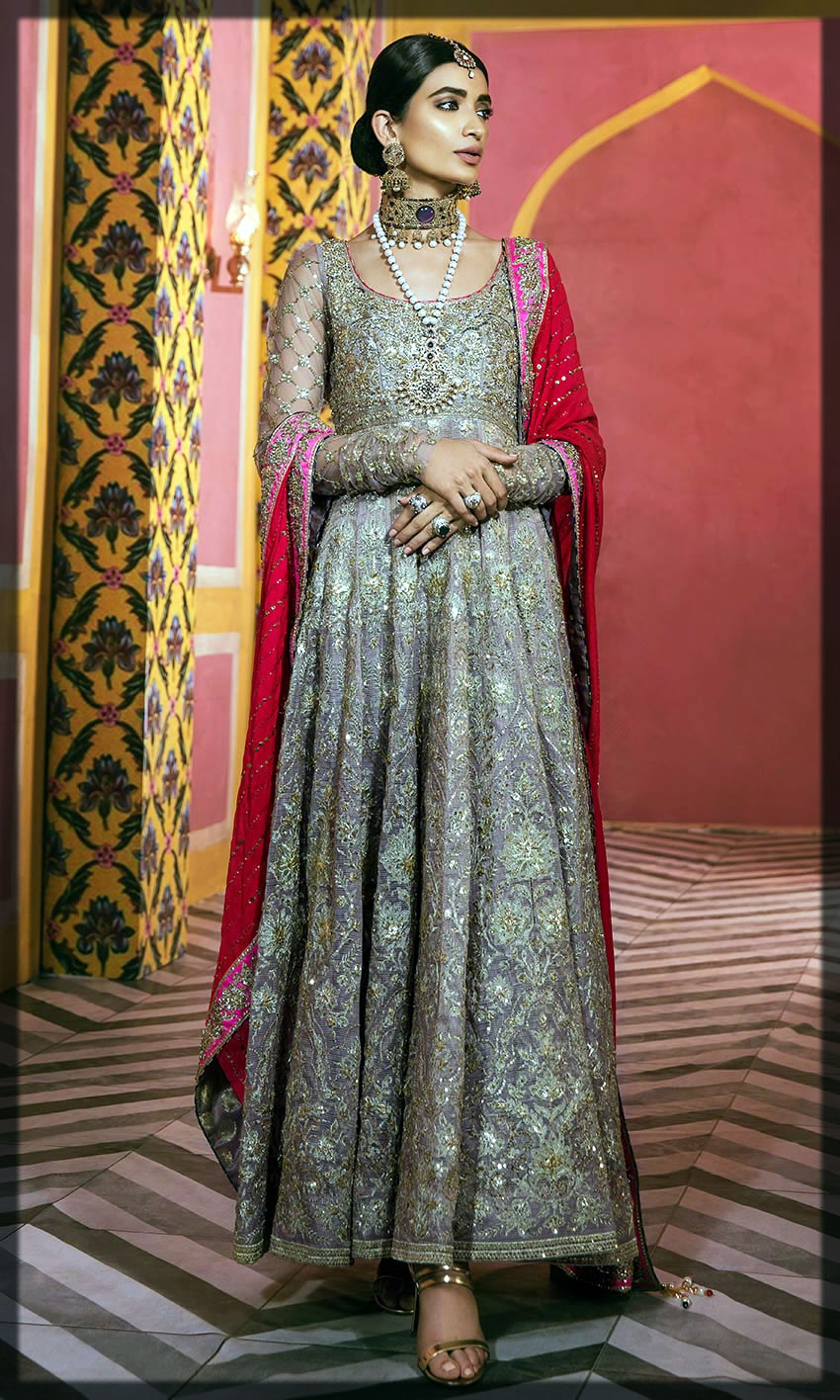 grey and red walima dress