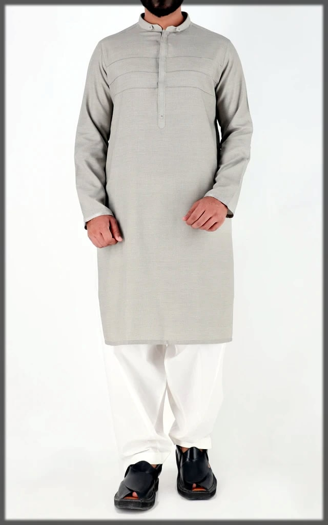 grey and white dress for eid