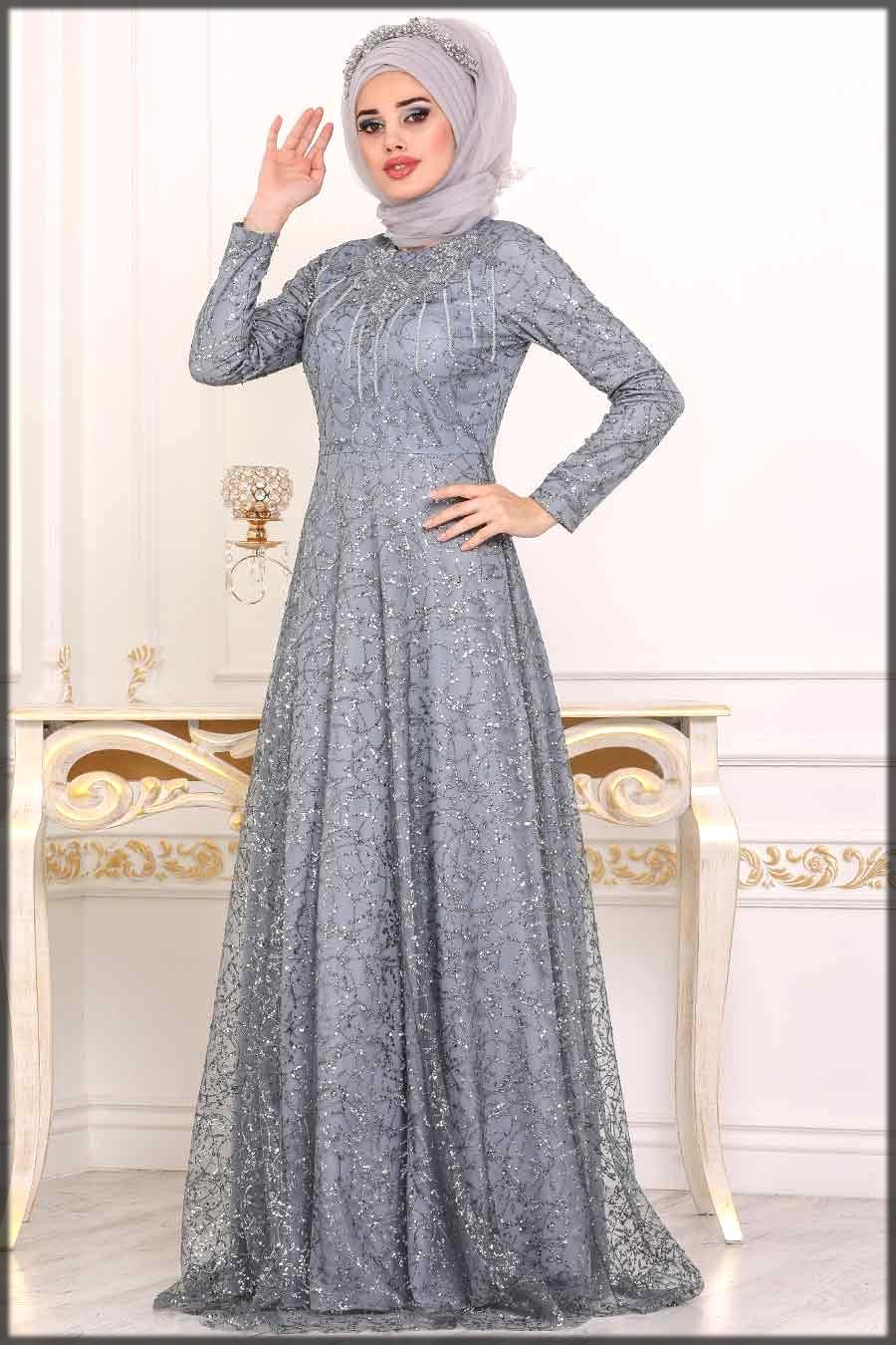 grey embroidered wedding abaya dress