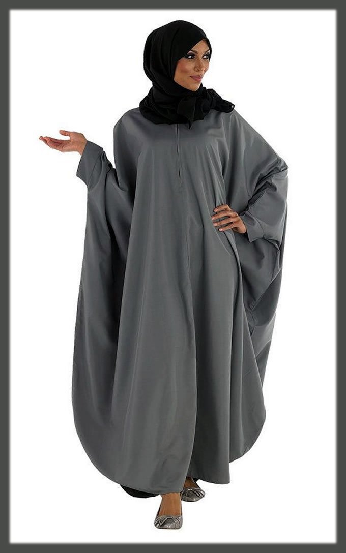 grey kuftan abaya