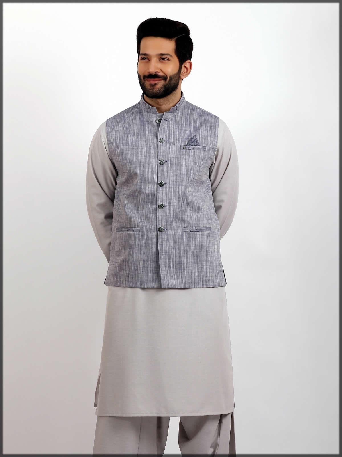 grey stylish waistcoat for men