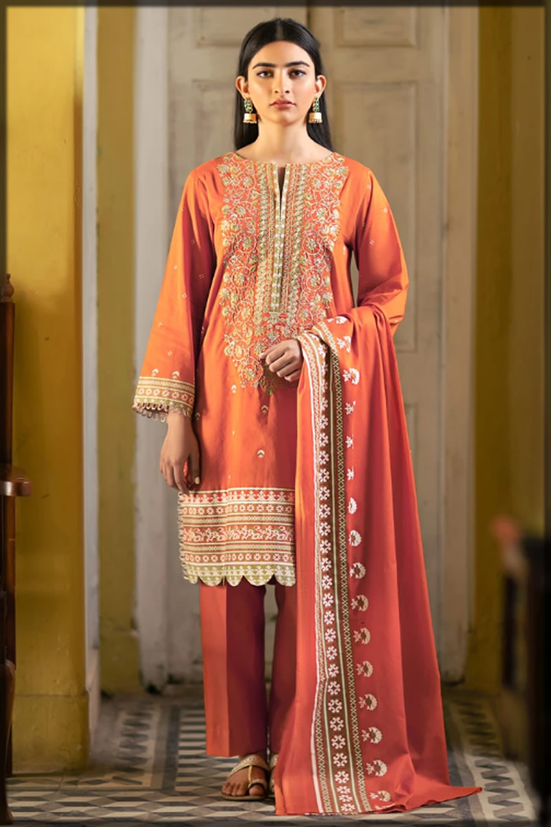 heavily embroidered orange lawn dress