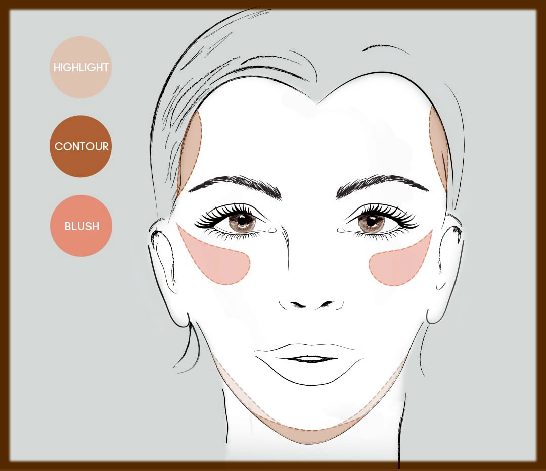 how to apply blush on heart face shape