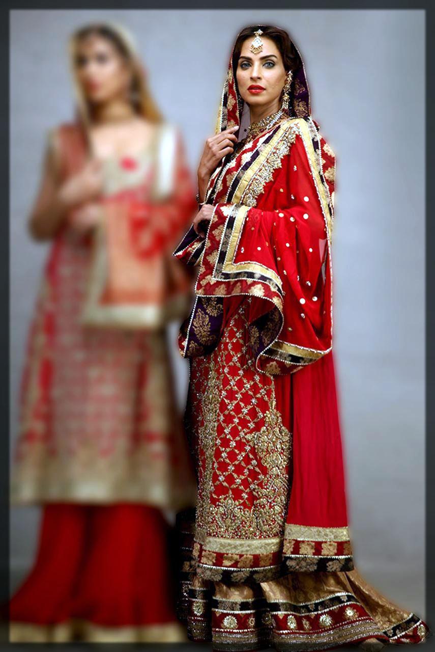 impressive red bridal barat lehenga