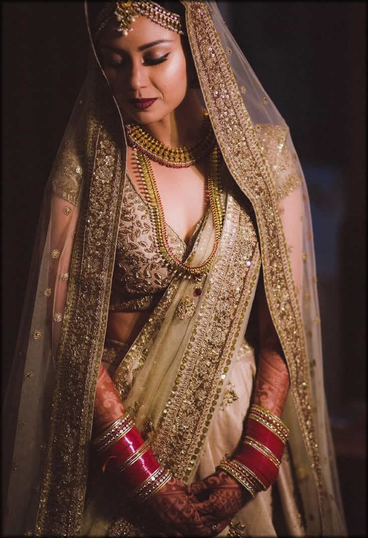 indian saree in golden champagne color