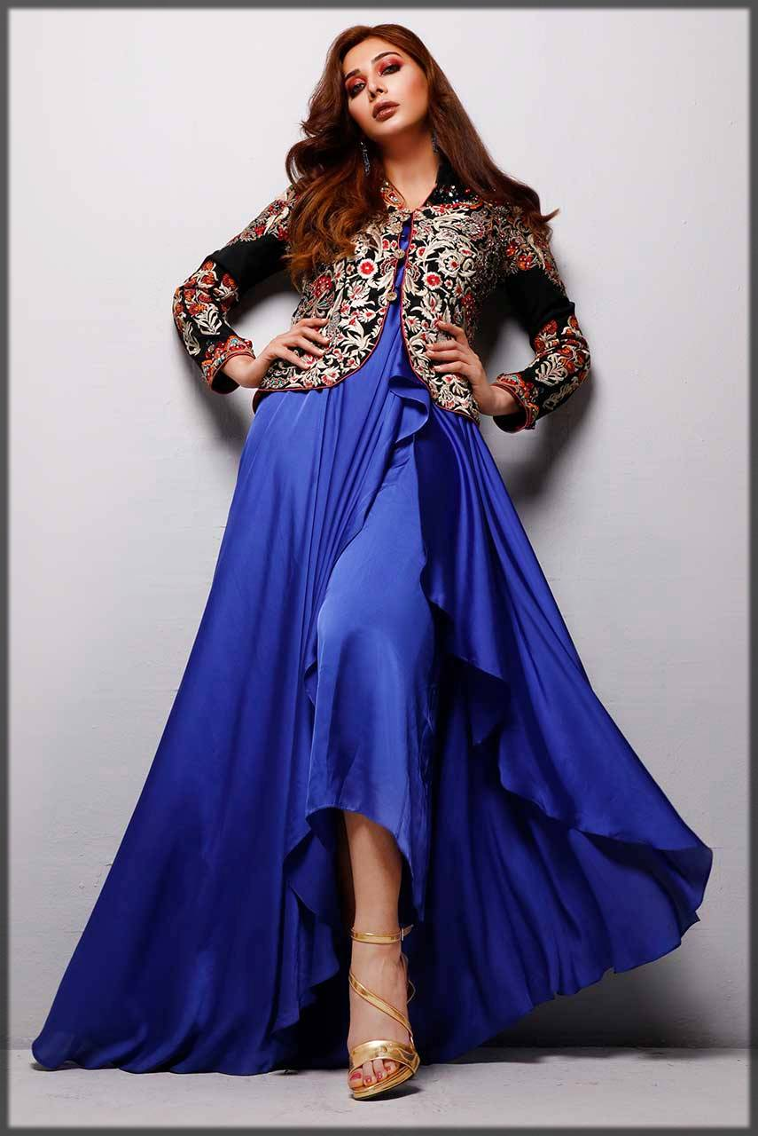 jacket style frock - blue