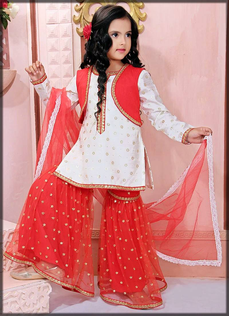 jacket style sharara suit for kids