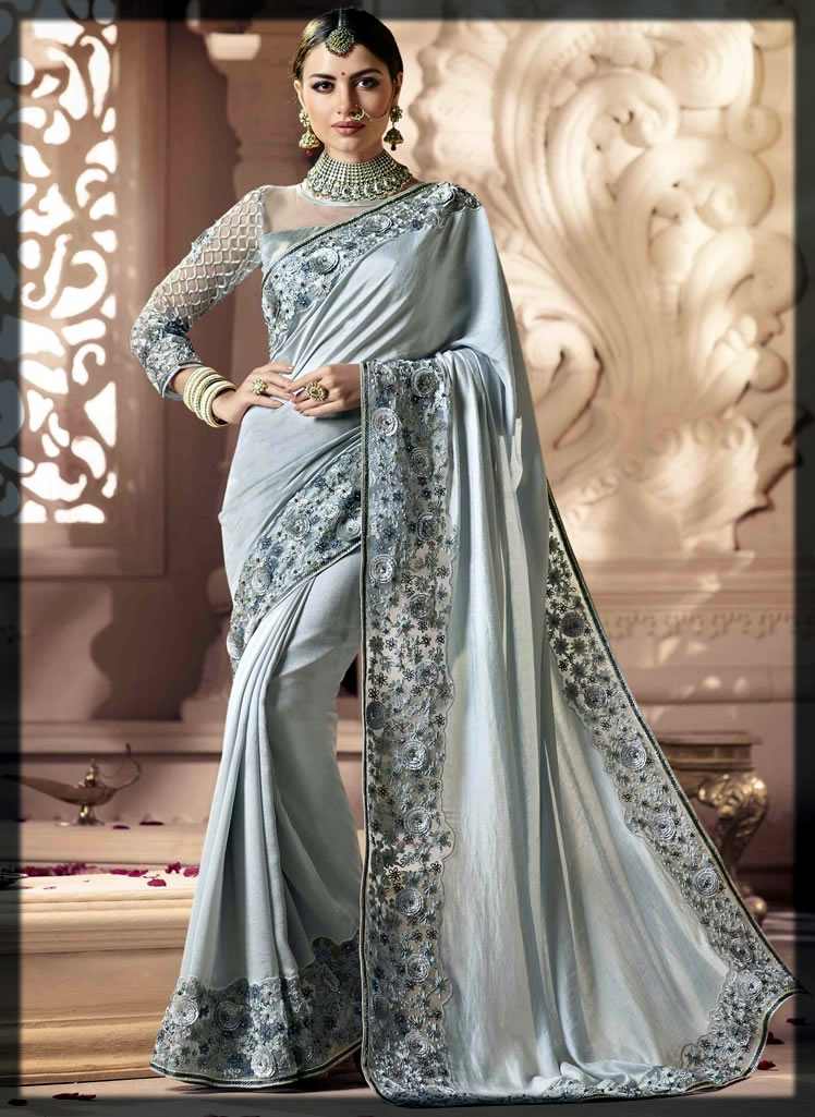 jazzier grey saree