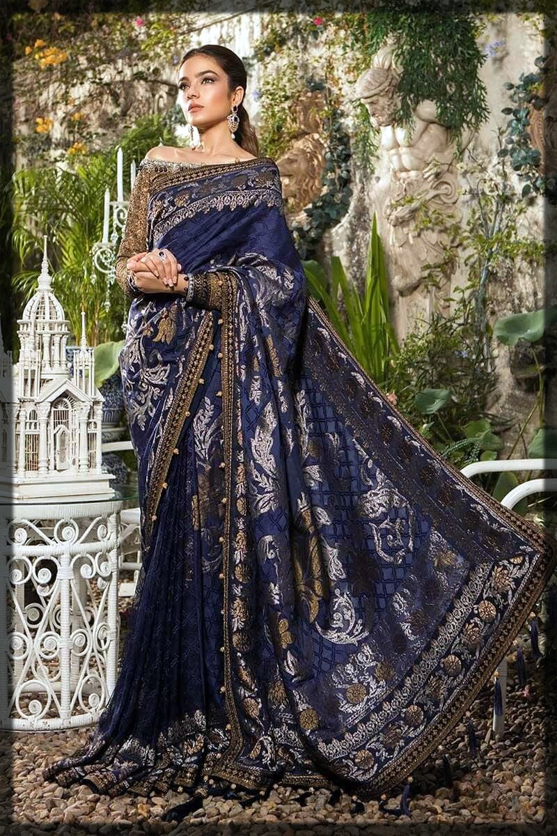 jazzy blue pakistani saree designs