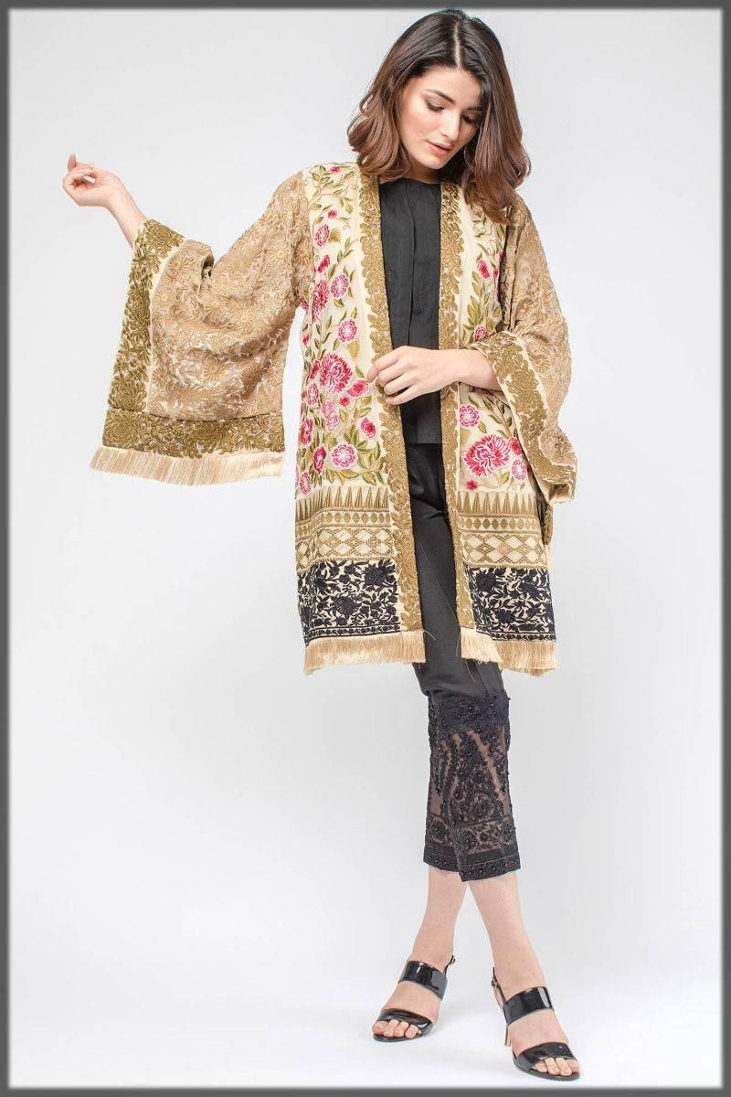 latest pakistani jacket style dress