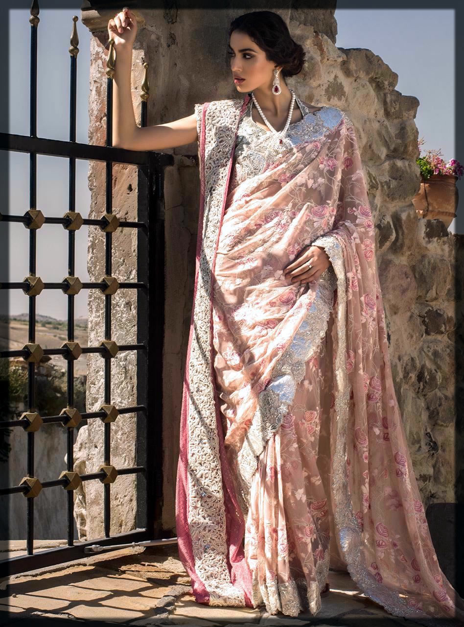 lavish pink pakisatni saree design by zainab
