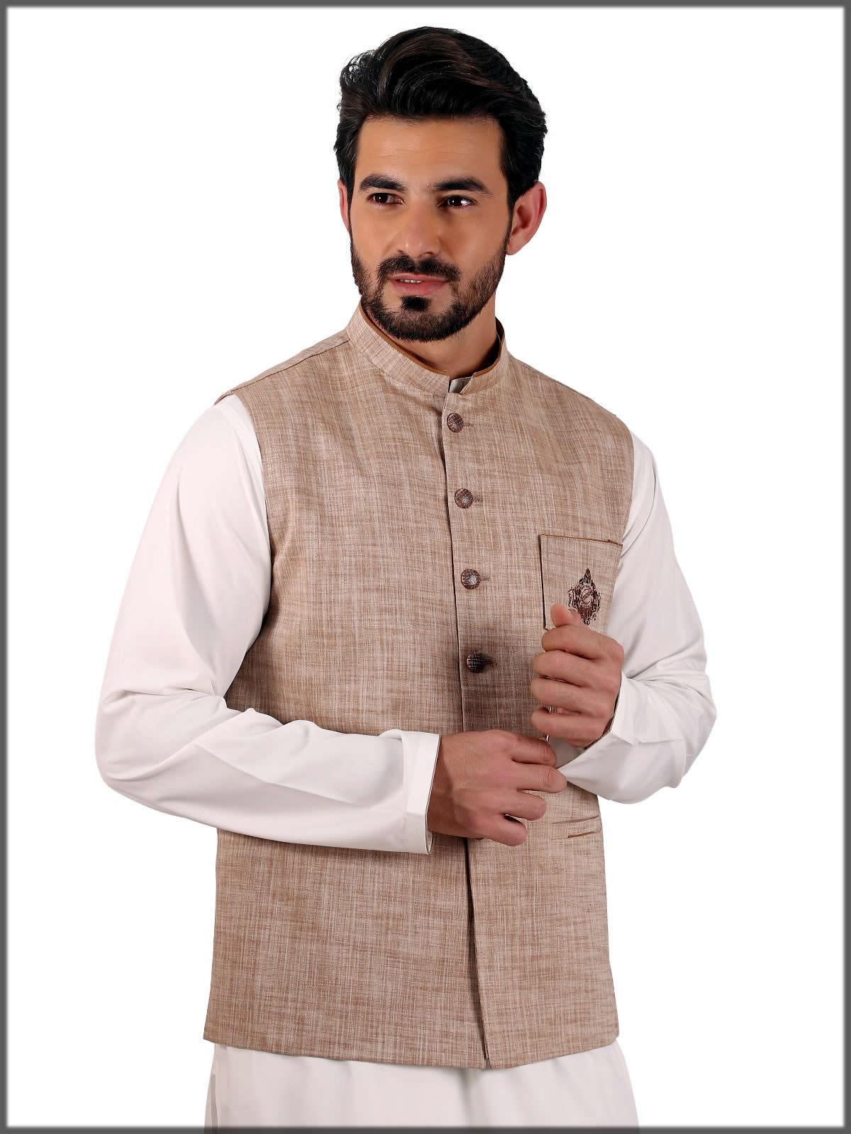 light brown waistcoat by eden robe
