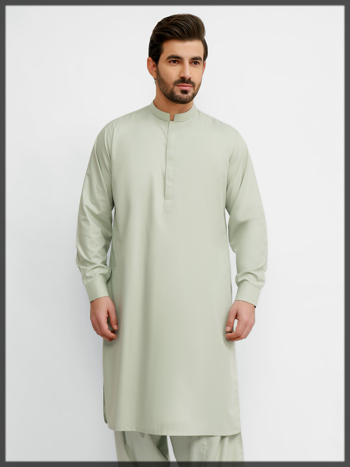 light green shaded summer outfit for men