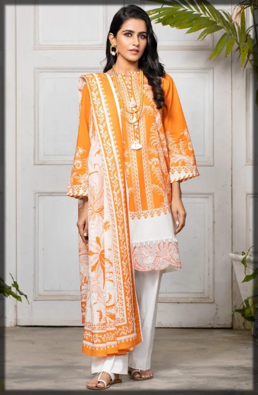 light orange summer lawn suit