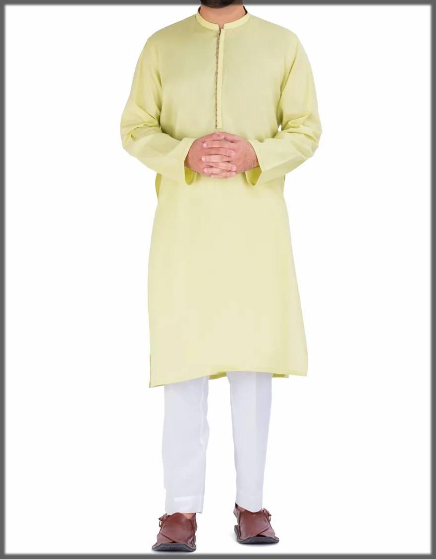 lime-green plain kurta