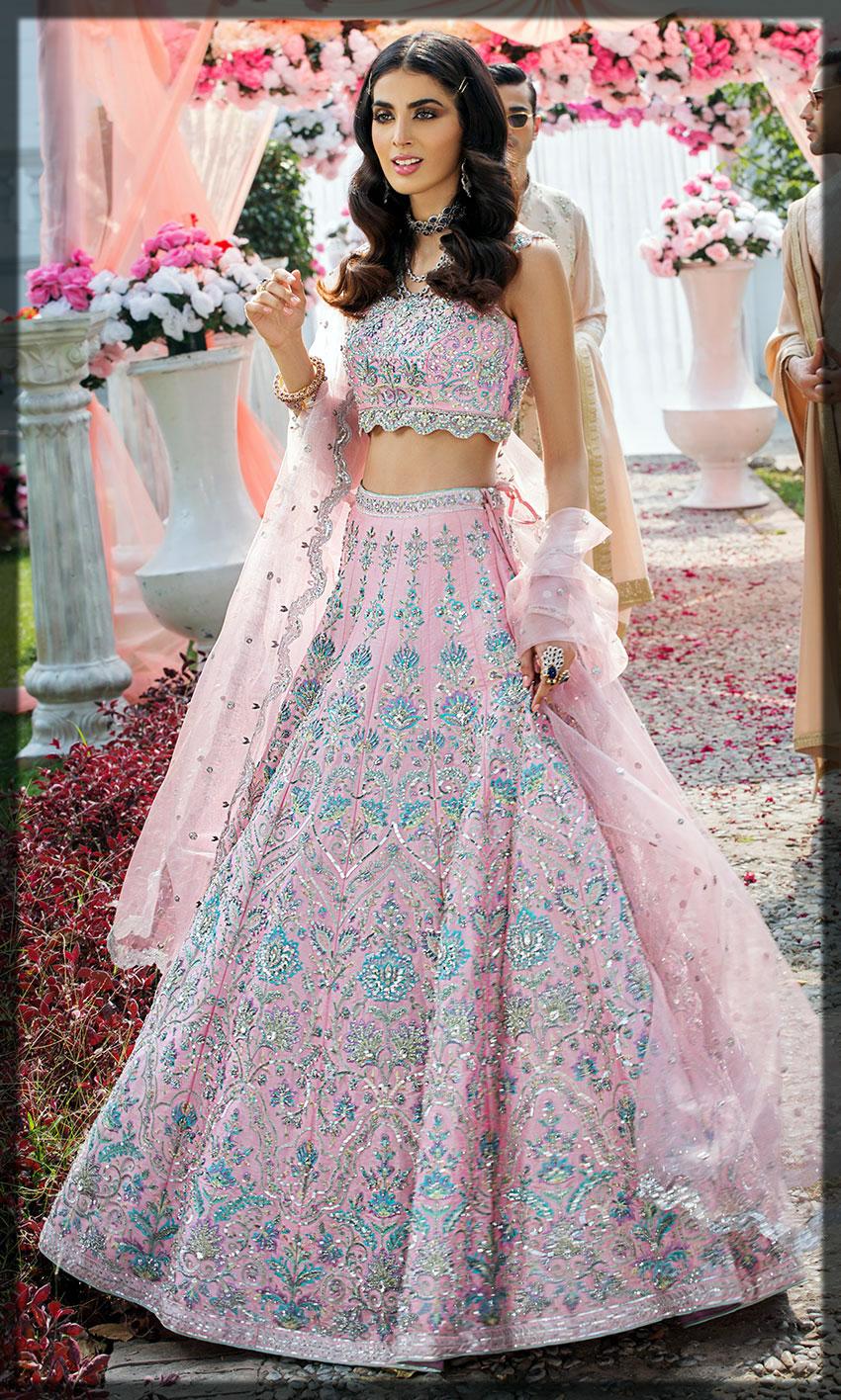 lovely pink mehndi dress for bride
