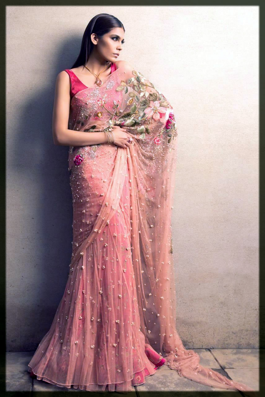 lovely pink pakistani saree designs