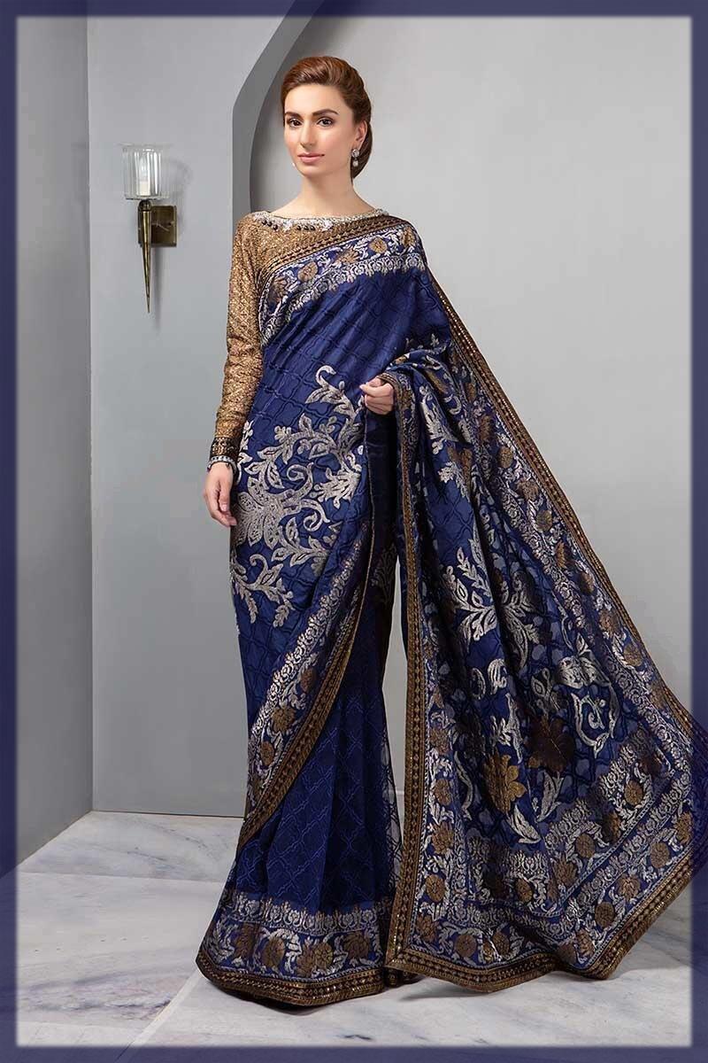 maria b emboridery saree design