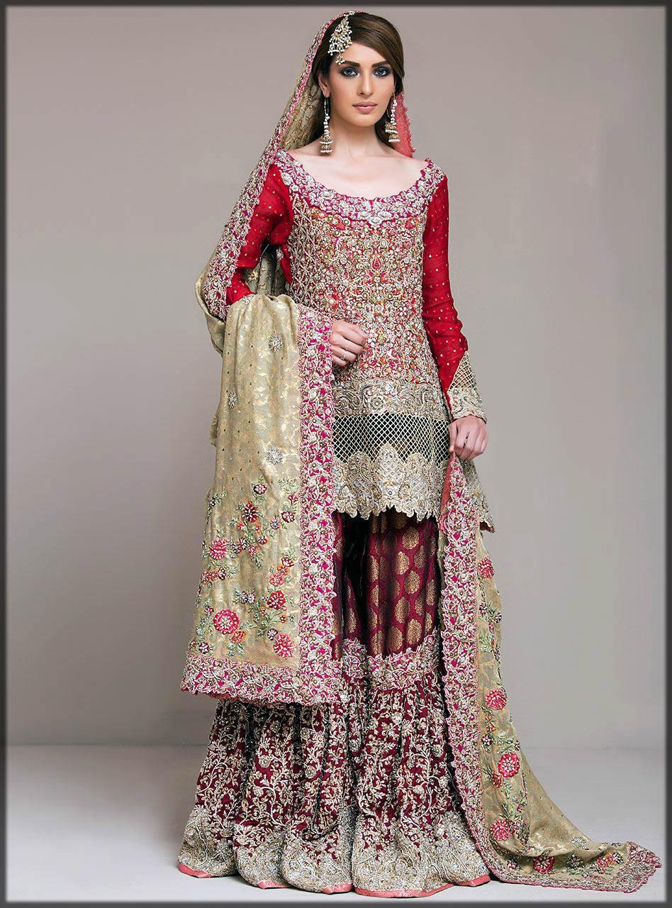 maroon and red bridal dress by zainab chottani