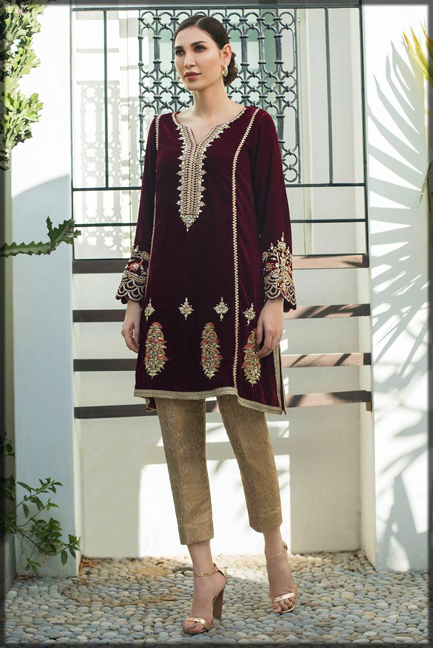maroon colored luxury pret for girls