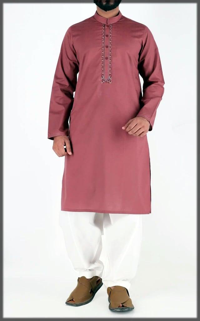 maroon embroidered eid dress