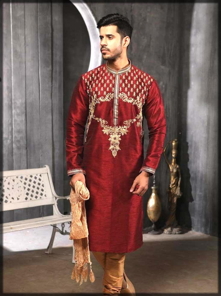 maroon embroidered kurta pajama for mehndi