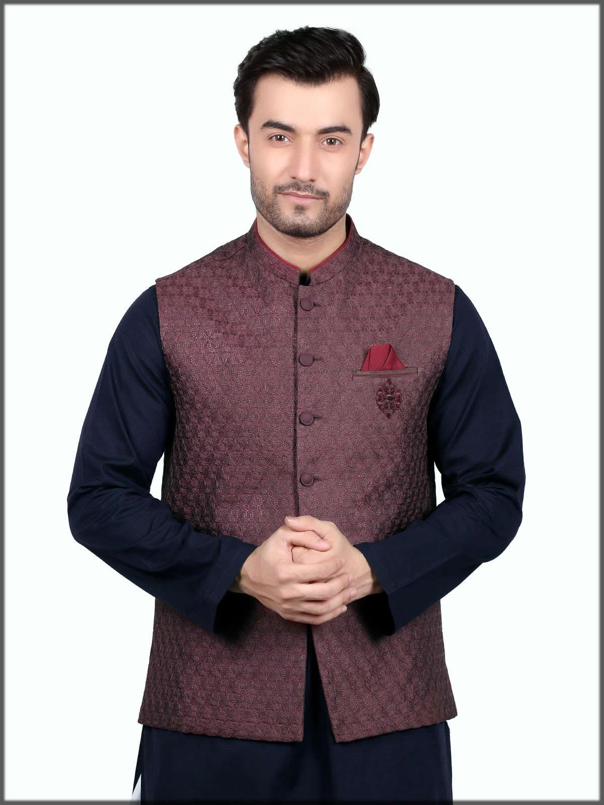 maroon formal waistcoat