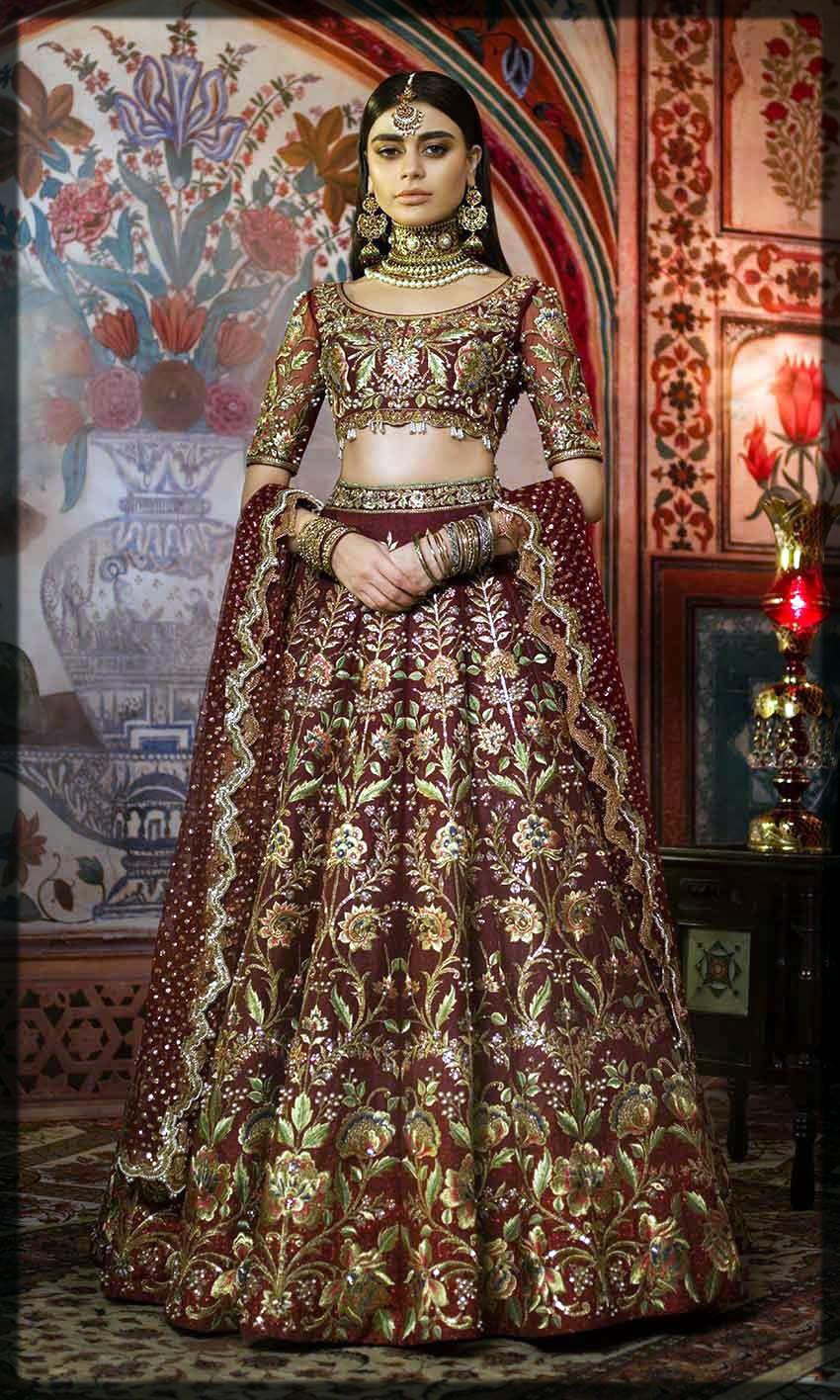 maroon fully emboridered bridal dress