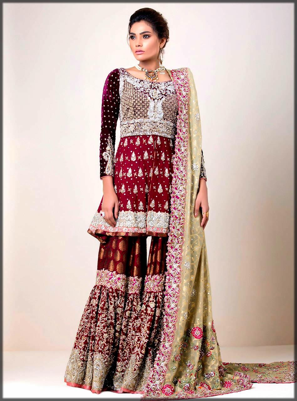 maroon sharara dress by zainab chottani