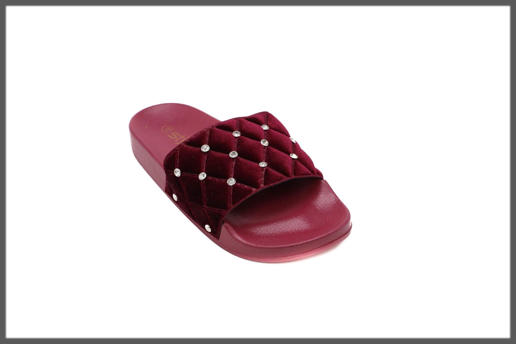 maroon studded flip flops for women